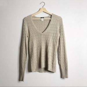 J. CREW Linen V-Neck Cable Knit Sweater Small
